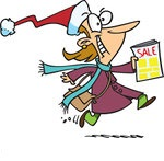441360-Royalty-Free-RF-Clip-Art-Illustration-Of-A-Cartoon-Excited-Black-Friday-Shopper-Running-With-A-Sale-Ad 1